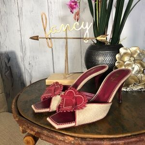 Yves Saint Laurent Red/Tan Leather/Textile Mules